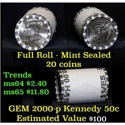 2000-p $10 Mint Rolled Kennedy Half Dollar Shotgun Roll