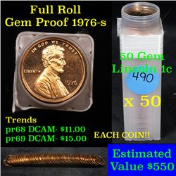 ***Auction Highlight*** Proof 1976-s Lincoln cent 1c roll, 50 pieces (fc) (fc)