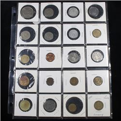 Page of 20 Mixed Foreign coins
