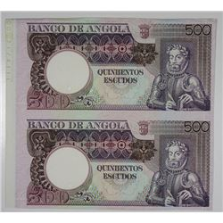 Banco de Angola, ND (1973) Uncut Specimen-Proof Pair.