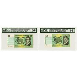 Commonwealth of Australia, Reserve Bank, ND (1968) High Grade Sequential Pair.