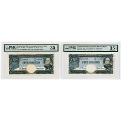 Commonwealth of Australia. ND (1960-1965) Issued Banknote Pair.
