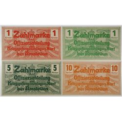 Hart bei Amstetten Officer POW Camp. ND (1914-1915). Lot of 4 Issued Notes.