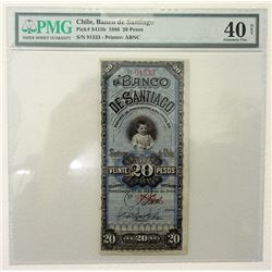 Banco De Santiago, 1886 Issued Obsolete Banknote.