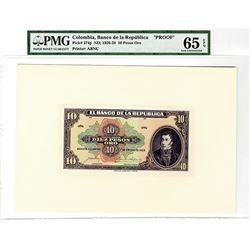 Banco de la Republica, 1928, 10 Pesos Oro Proof Banknote.