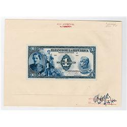 Banco de la Republica, 1940, Unique 1 Peso Oro Progress Approval Proof Banknote.