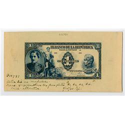 Banco de la Republica, 1940, Unique 1 Peso Oro Progress Proof Banknote.