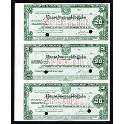 Banco Nacional de Cuba Traveler's Checks, ND (ca.1940-50's) Uncut Specimen  Sheet of 3.
