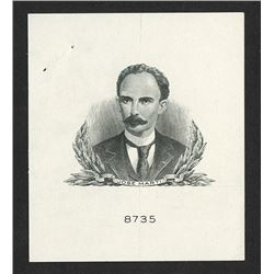 Jose Marti Proof Vignette Essay By Security BNC, ca.1940-50 for Proposed Banknote.
