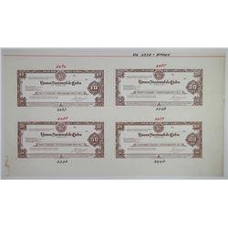 Jeffries Bank Note Company 1950-60's Traveler's Check Proof Quartet
