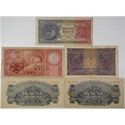 Czechoslovak National Bank, 1925; 1927; 1929; 1944 Banknote Quintet.