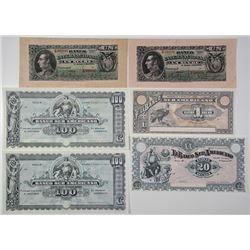 Banco Sur Americano & Banco Internacional. 1920. Lot of 6 Issued Notes.