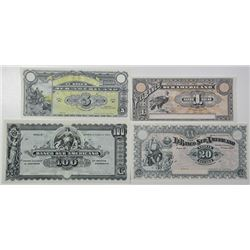 Banco Sur Americano. 1920. Lot of 4 Issued Notes.