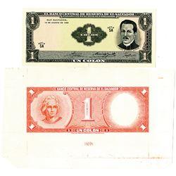 Banco Central de Reserva de El Salvador, 1968, Obverse & Reverse Proof Banknotes