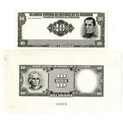 Banco Central de Reserva de El Salvador, ND (1968), Obverse & Reverse Proof Banknotes