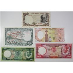Banco Popular & Others. 1975-1985. Lot of 5 Issued Notes.
