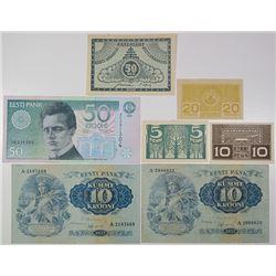 Eesti Vabariigi Kassataht & Eesti Pank. 1919-1994. Lot of 7 Issued Notes.
