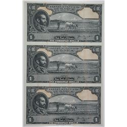 State Bank of Ethiopia, ND (1945) Specimen-Proof Uncut Sheet of 3 Notes.