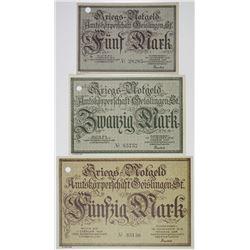 Amtskoerperschaft Geislingen POW Camp. 1918. Lot of 3 Issued Notes.