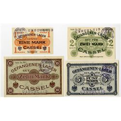 Cassel POW Camp. ND (1914-1918). Lot of 4 Issued Notes.