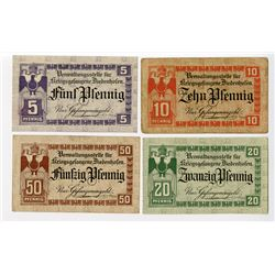 Diedenhofen Administrative Center for POWs. ND (1914-1918). Lot of 4 Issued Notes.