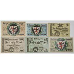 Grunberg i. Schlei & Stadt Giessen Kriegs Notgeld. 1918-1919. Lot of 6 Issued Notes.