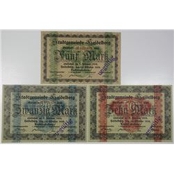 Heidelberg. 1918. Lot of 3 Issued Notes.