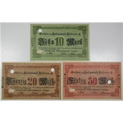 Heilbronn. 1918. Lot of 3 Issued Notes.