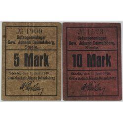 Johann Deimelsberg POW Camp in Steele. 1918. Lot of 2 Issued Notes.