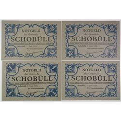 Schobuell Local Community. 1921. Lot of 4 Issued Notes.