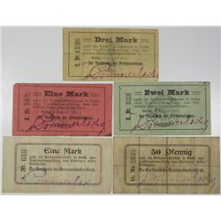 Sparkasse District. 1914-1915. Lot of 5 Issued Notes.
