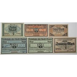 Stadt Halberstadt and Stadt Haspe. 1918. Lot of 6 Issued Notes.