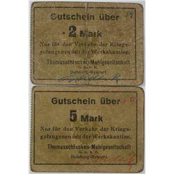 Thomasschlacken-Mahlgesellschaft POW Camp in Duisburg-Ruhroert. ND (1914-1918). Lot of 2 Issued Note