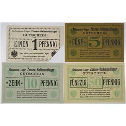 Zossen-Halbmondlager POW Camp. ND (1914-1918). Lot of 4 Issued Notes.