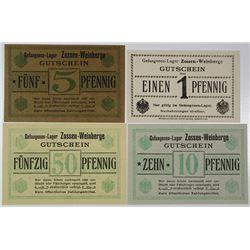 Zossen-Weinberge POW Camp. ND (1914-1918). Lot of 4 Issued Notes.