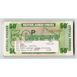 British Armed Forces, ND (1972) Sixth Series, Pack of 100 Banknotes, De La Rue Printing.