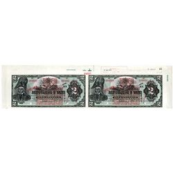 Republique d' Haiti, 1919 Provisional Issue Uncut Specimen Banknote Pair with top Margin with Archiv