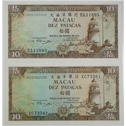 Banco Nacional Ultramarino. 1981. Lot of 2 Issued Notes.