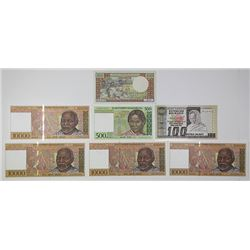 Banky Foiben'I Madagasikara. 1966-1995. Lot of 7 Issued Notes.