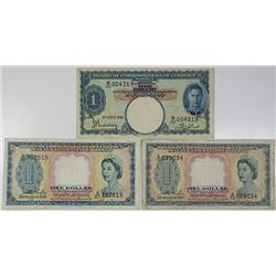 Board of Commissioners of Currency. 1941-1953. Lot of 3 Issued Notes.