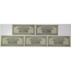 Japanese Government. ND (1945). Lot of 5 Issued Notes.