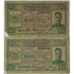 Government of Mauritius. ND (1940). Lot of 2 Issued Notes.