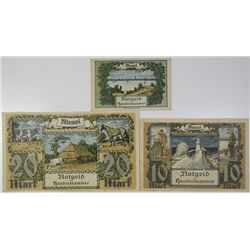 Handelskammer des Memelgebiets. 1922. Lot of 3 Issued Notes.