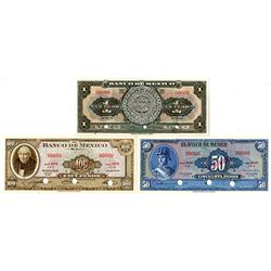 Banco De Mexico, 1950-69 Specimen Banknote Trio.