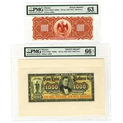Banco De San Luis Potosi, ND (ca.1897-1913) 1000 Pesos Face and Back Proof Pair.