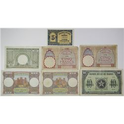 Banque d'Etat du Maroc. 1922-1951. Lot of 7 Issued Notes.