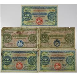 Banco Nacional Ultramarino. 1914. Lot of 5 Issued Notes.