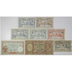 Tresorerie de Noumea & Banque L'Indo-Chine. 1926-1943. Lot of 8 Issued Notes.