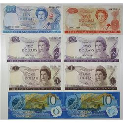 Reserve Bank of New Zealand. 1967-1990. Lot of 8 Issued Notes.