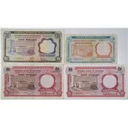 Central Bank of Nigeria. 1967-1968. Lot of 4 Issued Notes.